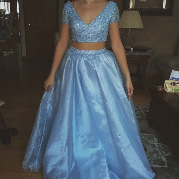hebeos Dresses | Two Piece Prom Dress Cinderella Blue | Poshmark